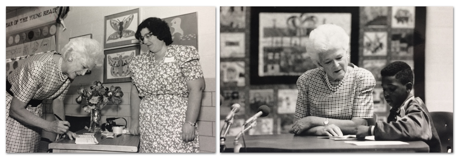 Two black and white photographs of First Lady Barbara Bush taken on May 4, 1989. In the image on the left, she can be seen signing what appears to be a guest book as a woman, possibly a teacher or some other school official, looks on. In the second image, Bush is seated next to a student and it appears they are reading together.