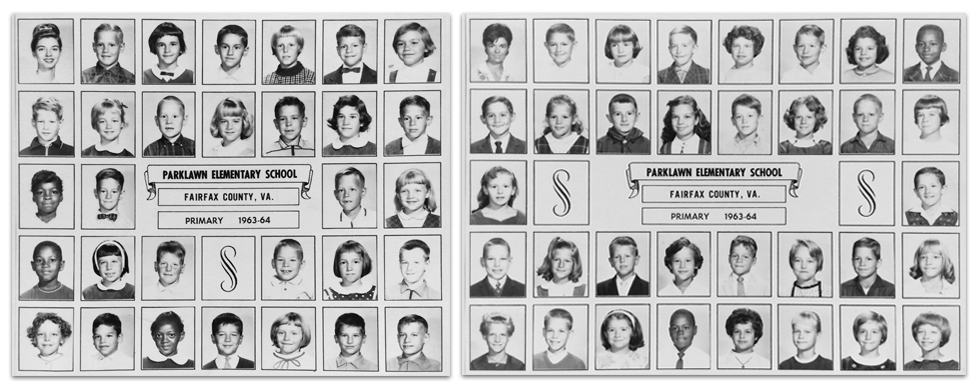 Black and white image of two pages from Parklawn's 1963 – 1964 yearbook side-by-side. The children are not named, but both are primary grade classes. You can see African-American and white children pictured together in each class.