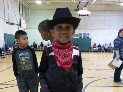 photo of first grader in cowboy outfit