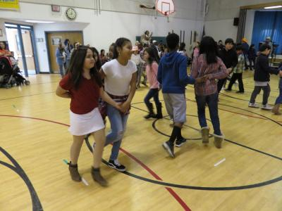 photo of students dancing